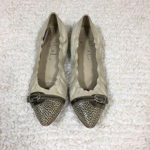 AGL Cream Leather Pointy Toe Flats